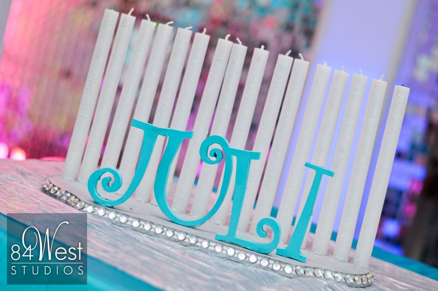 Juli's South Florida Sweet 16 candle lighting in tiffany blue with pearls