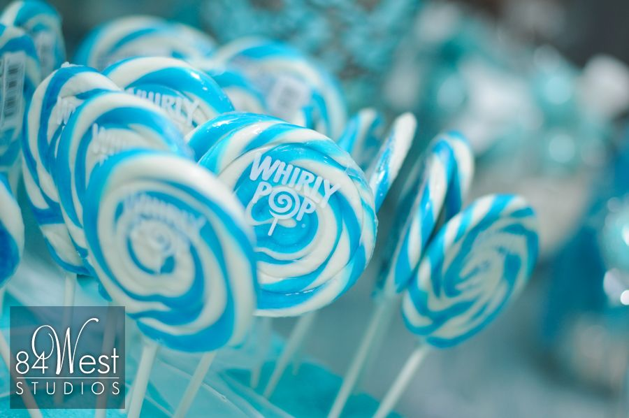 Tiffany blue and white whirly pop for Sweet 16 candy bar