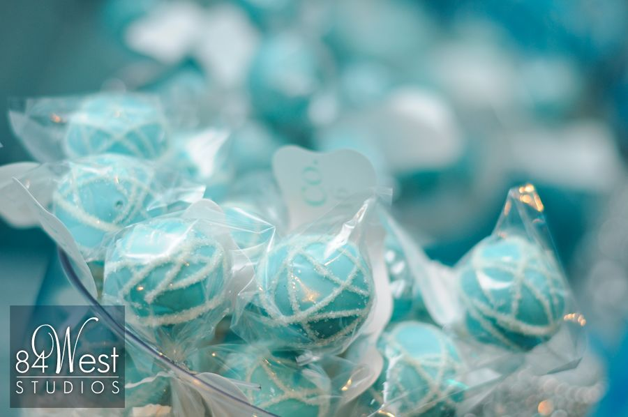 Baby blue cake pops for South Florida Sweet 16 party favor