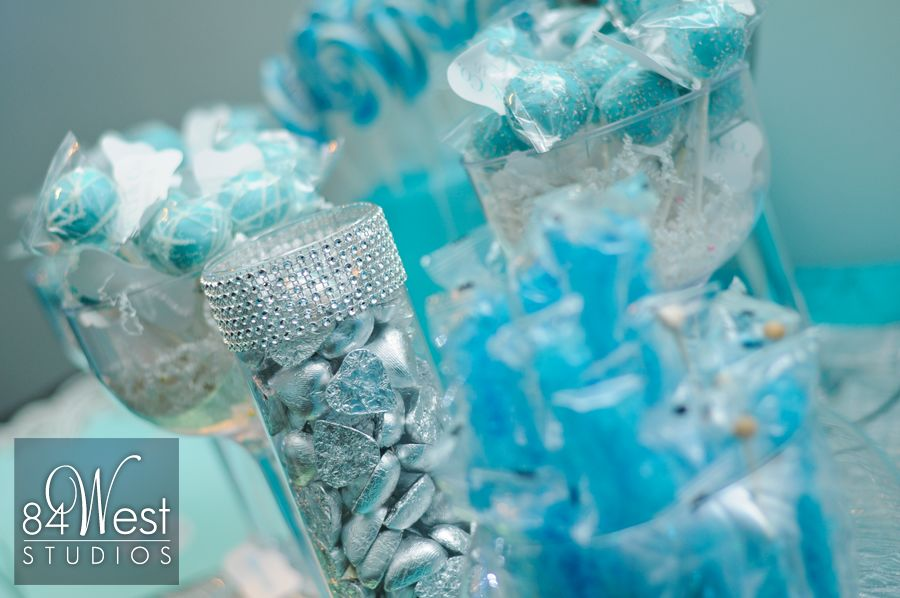 Beautiful sweet 16 candy bar with crystals and tiffany blue