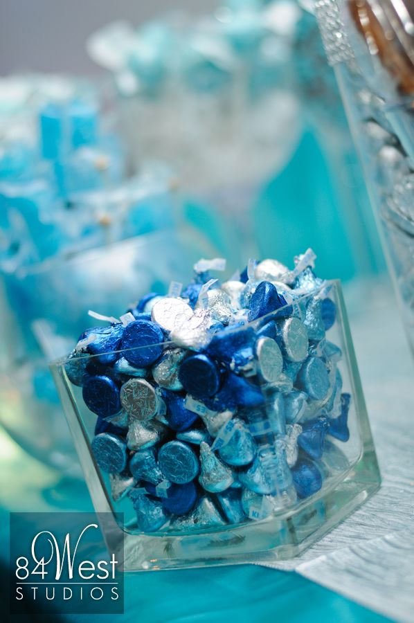 Hershey kisses in blue and silver Sweet 16
