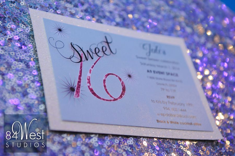 Sweet 16 glitter invitations